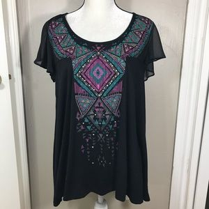 3/$15 signature studio tribal print tunic blouse